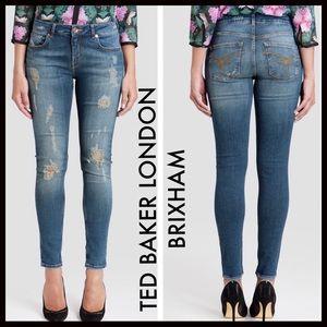Ted Baker London Distressed Brixham Skinny Jeans